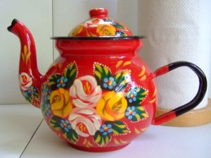 Hand decorated enameled steel teapot