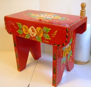 "Red cabin ""Cracket Stool"" in the traditional style by Carishei"
