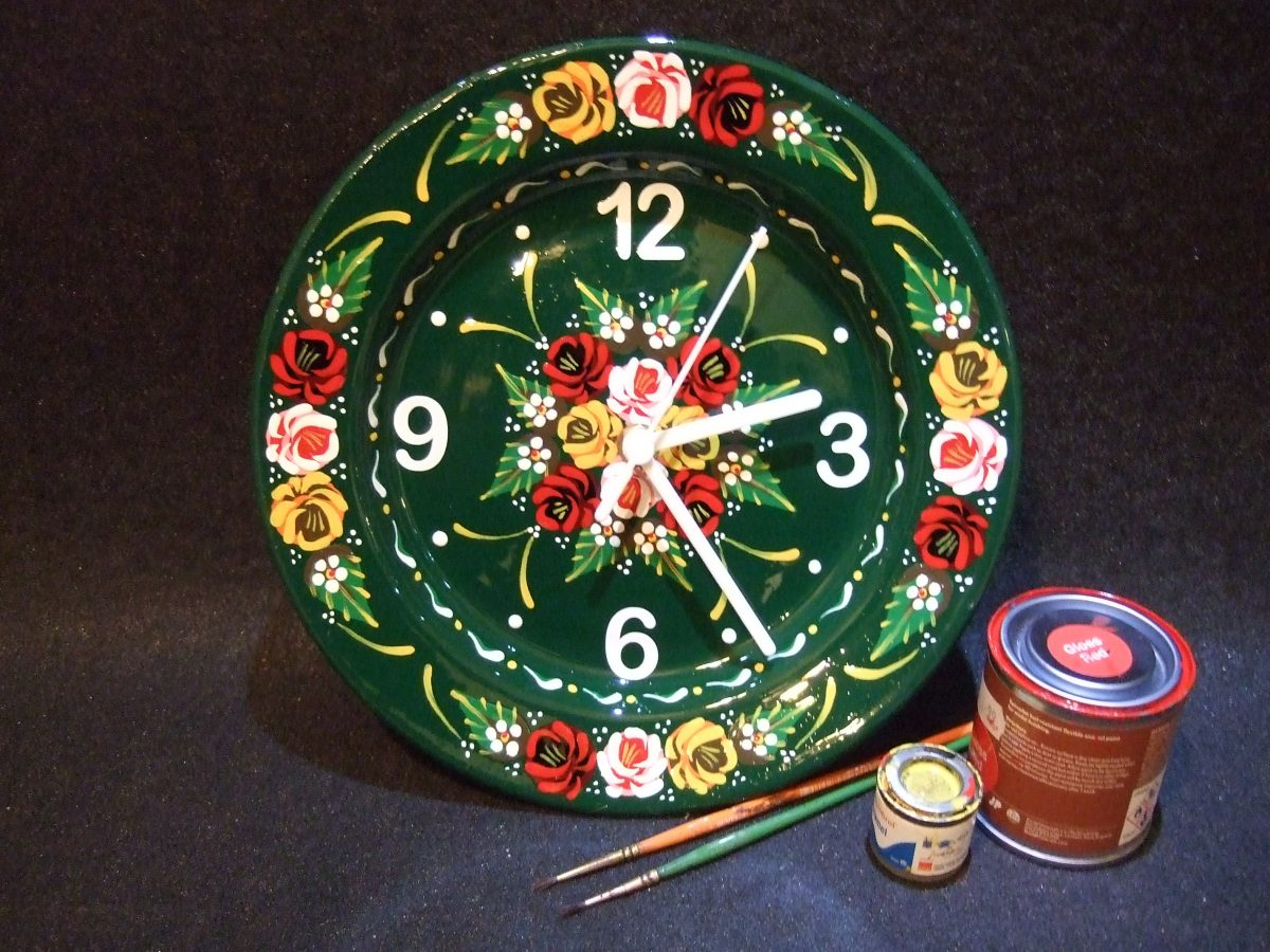 Green Canalware Clock