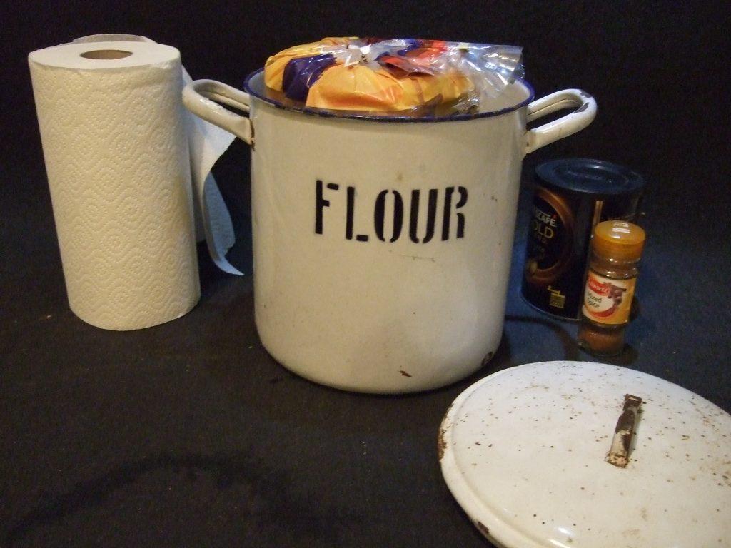 Vintage enamelware flour bin