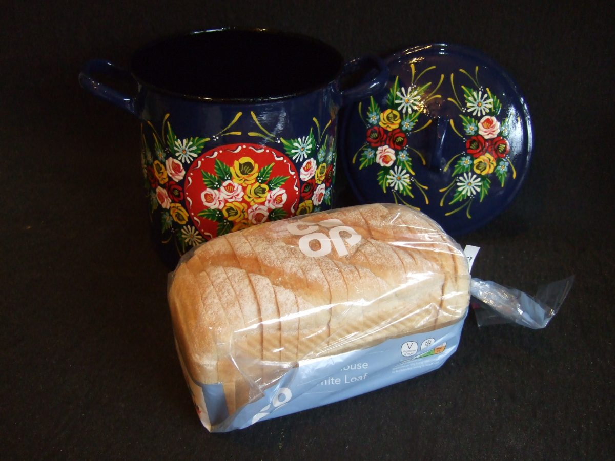 canal art breadbin with loaf